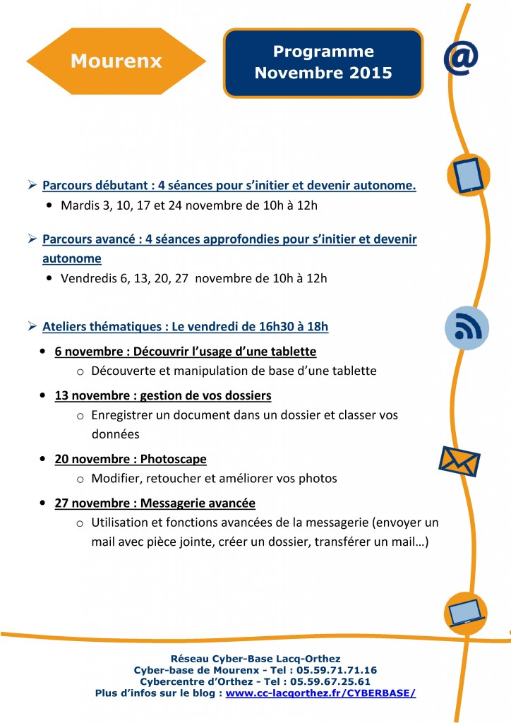 Programme de la Cyberbase de Mourenx - Novembre 2015