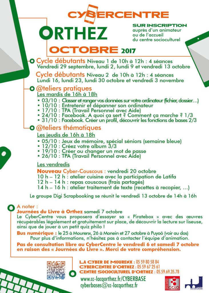 Programme Cybercentre Octobre 2017