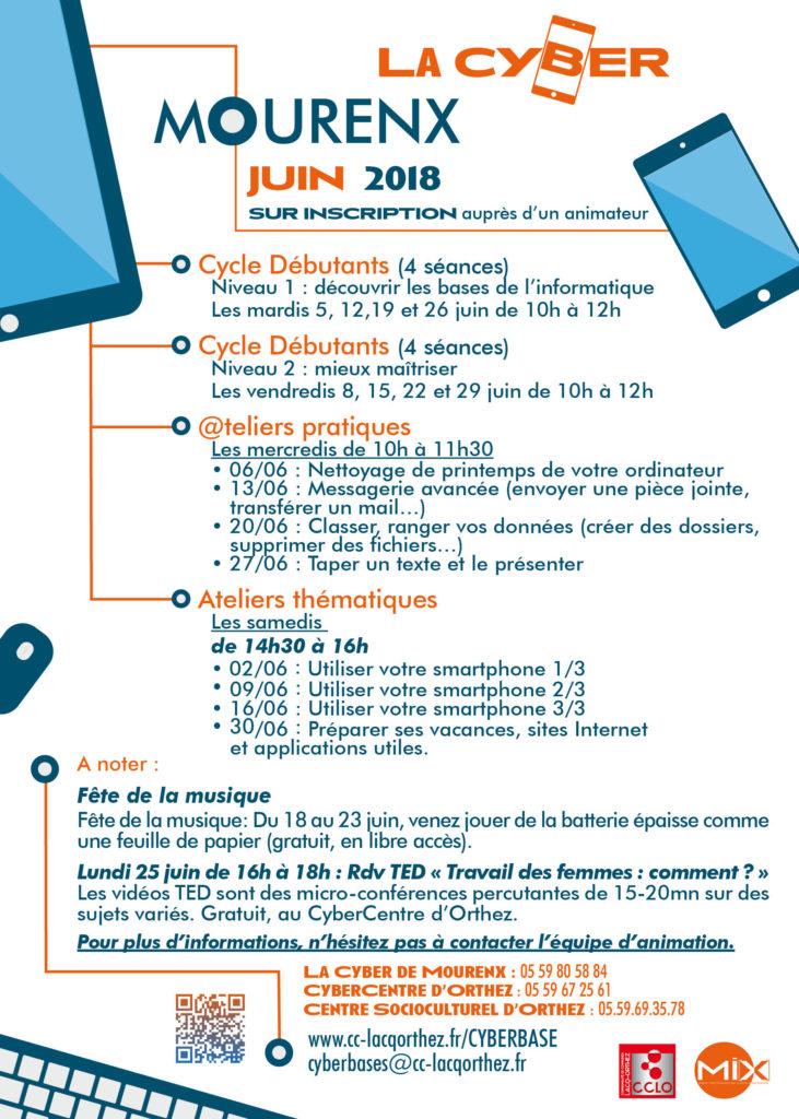 Ateliers et activités du mois de juin 2018