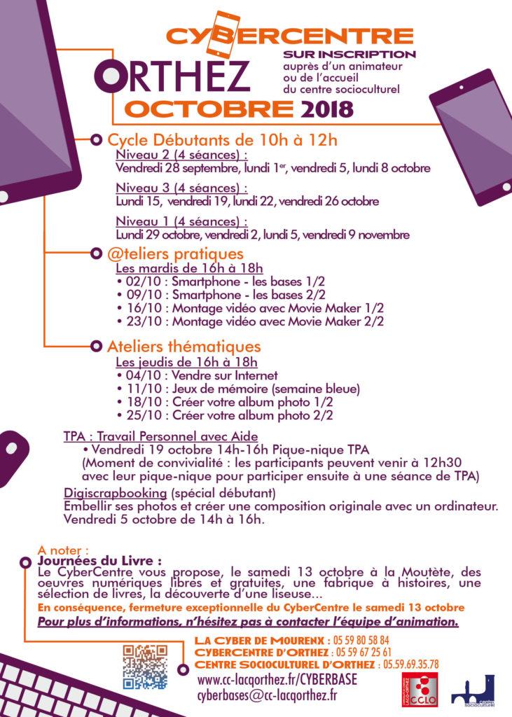 Programme CyberCentre Orthez octobre