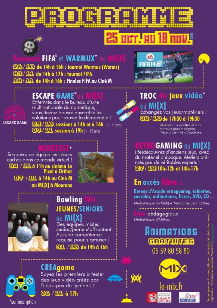 Flyer verso festival du jeu vidéo