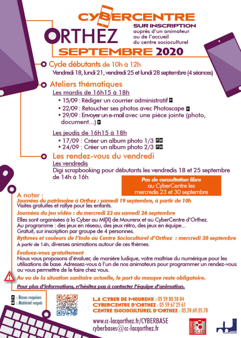 Flyer - Cybercentre - Orthez - Septembre 2020